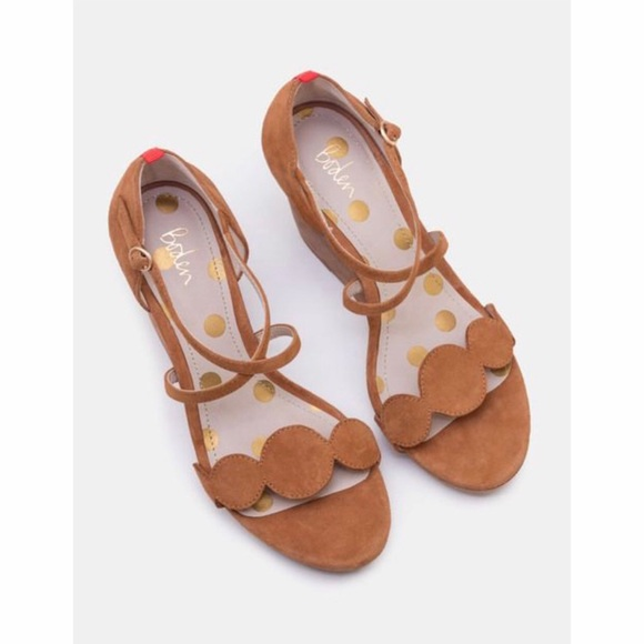 Boden Bethany Tan Suede Wedge Sandals
